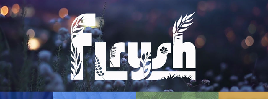Flrysh logo with wildflowers and lights