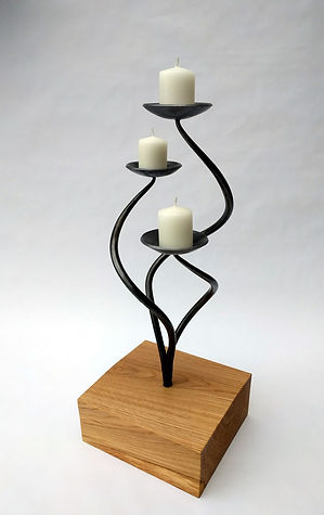 Spiralis Triple Plate Candle Holder in Oak