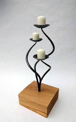 Spiralis Triple Plate Candle Holder in Oak