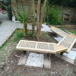 Finished benches with gravel and sleeper foundations.