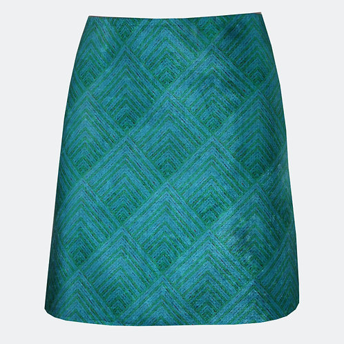 Prism Op Art Skirt Teal & Blue