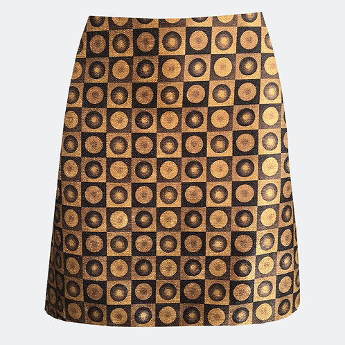 Spheres Black & Gold A-Line Skirt