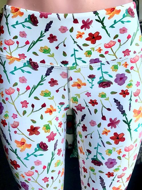 Flora White Leggings