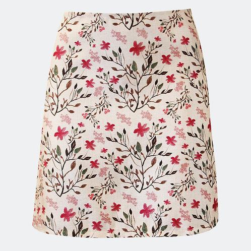 Botanicals White A-line Skirt