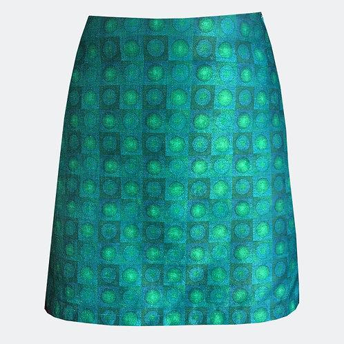 Spheres Jade Op Art Skirt