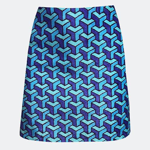 Cubed Cyan A-line Skirt