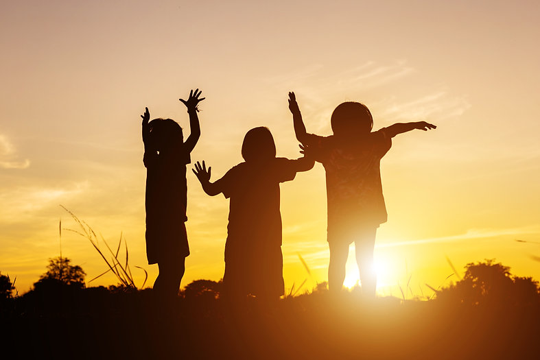 Asian little girls. Silhouette of three