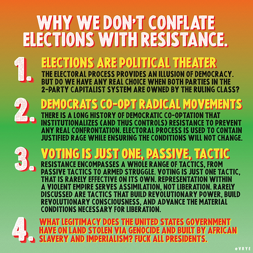 DON'T CONFLATE ELECTIONS WITH RESISTANCE