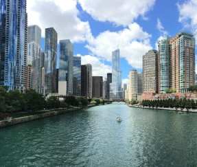 city-with-river-in-middle-during-cloudy-