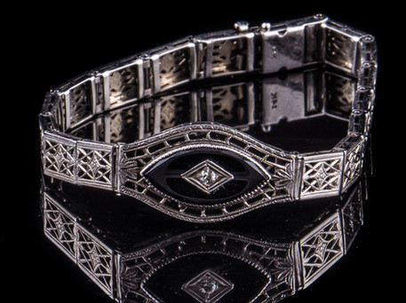 Art+Deco+14kt+filigree+Onyx+bracelet+wit