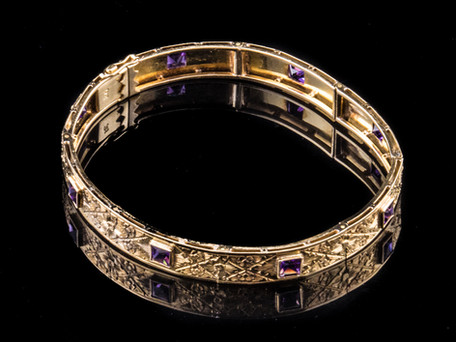 18kt+yellow+gold+Amethyst+Art+Deco+Brace