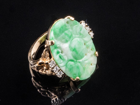 1950s+Carved+Jade+ring+accented++with+si