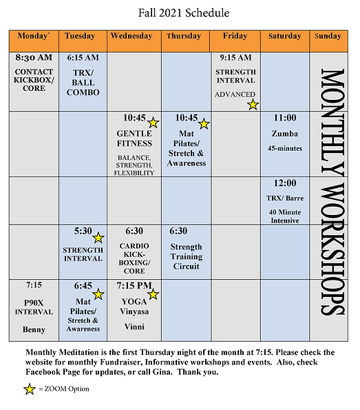 Embracing Fitness Fall 2021 Schedule