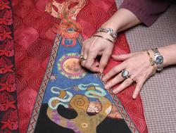 Amy working on Snake Goddess coat