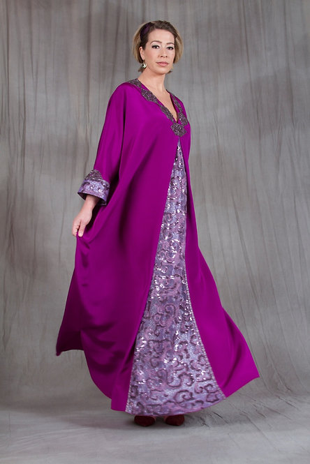 Purple & Orchid Pleat Caftan