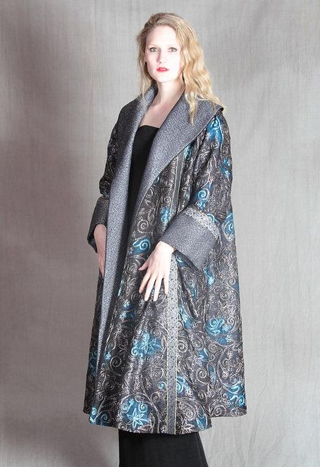 Liz Coat - Silver/Blue