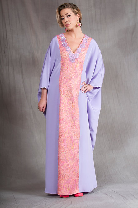 Lavender & Peach Colorblock Caftan