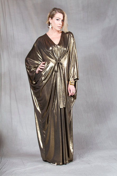 Gold Liquid Lame Caftan
