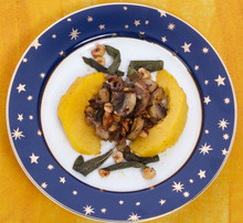 Roasted Acorn Squash with Mushrooms and Hazelnuts