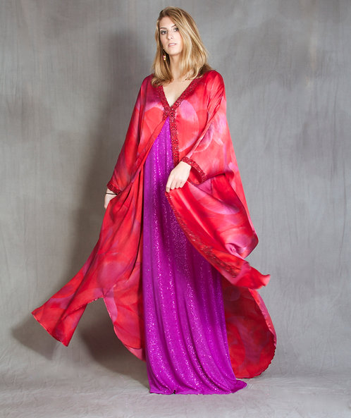 Red & Fuchsia Goddess Gown