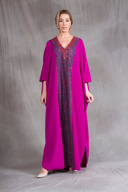 Magenta & Purple Lace Caftan