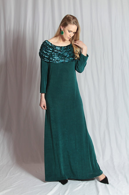 Teal Cowl Gown
