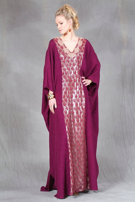 Plum Silk & Gold Lace