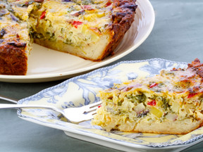 Spring Vegetable Quiche with New Potatoes, Arugula, and Cheddar