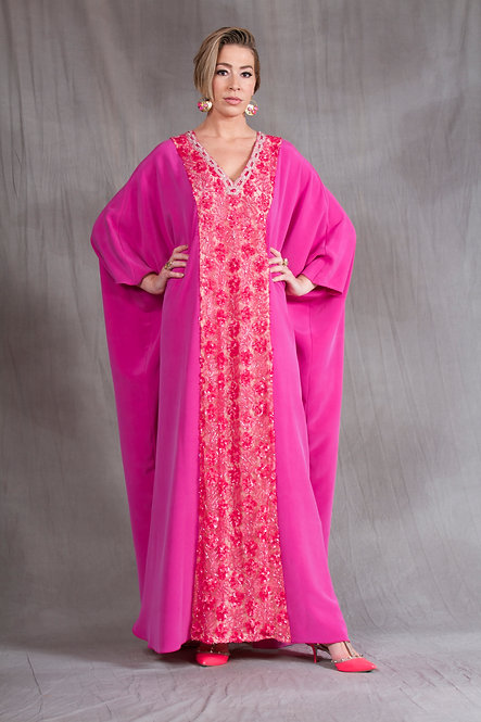 Hot Pink Beaded Caftan