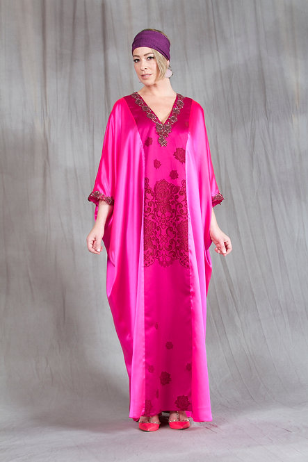 Hot Pink & Lace Print Caftan