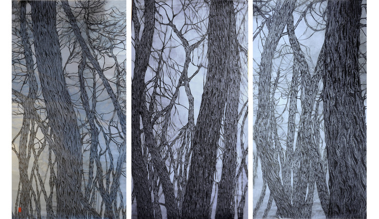 Moonlight, Triptych I, II and III, Ink o
