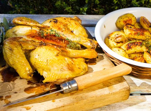 Poulet en crapaudine et pommes de terres aux épices