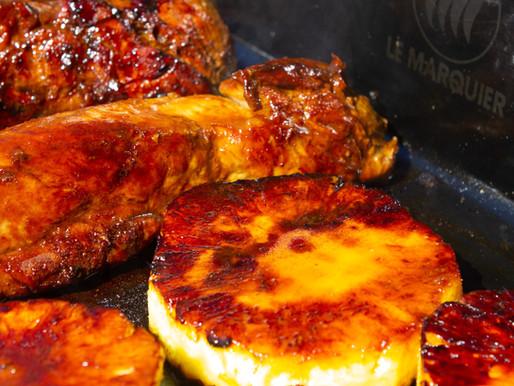 Filets mignons de porc laqués et ananas