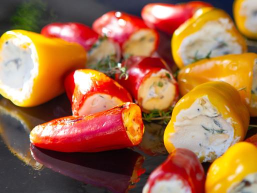 Petits poivrons farcis Ricotta & olives noires