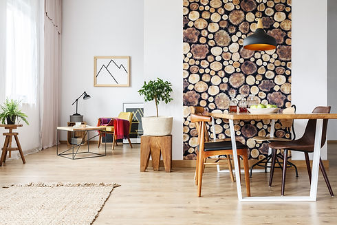Dining table and rustic brown chairs in