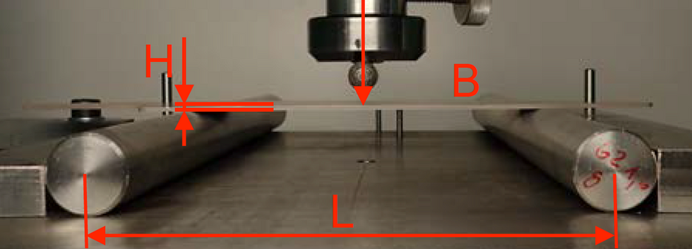 3-point bending test dimensions