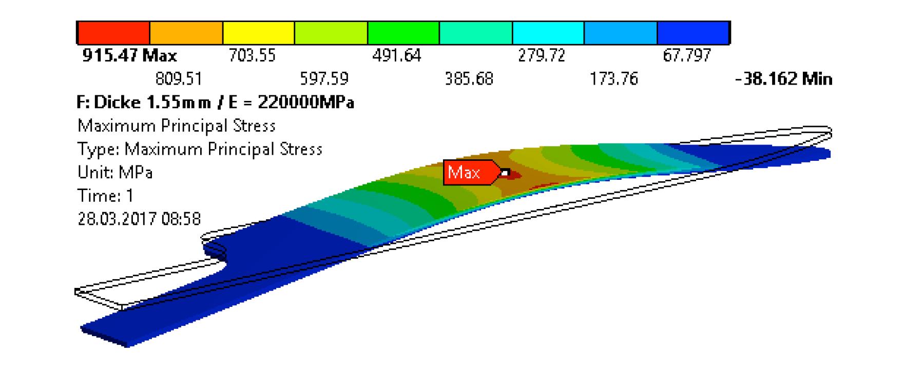 3-Punkt Biegeprüfung FEM Simulation