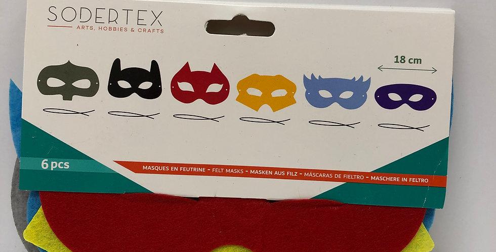 Sodertex Felt Superhero Masks pack of 6