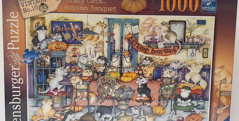 Ravensburger 1000 piece puzzle Crazy Cats Autumn Banquet