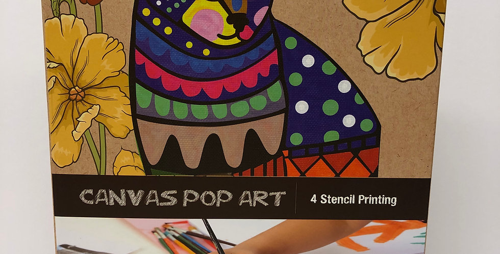 Avenir Canvas Pop Art stencilling Cat, Age 5+