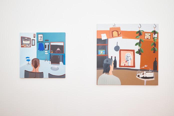 Luciana Smith  'Karin'  acrylic on canvas,  80 x 80  'Sympathy for the Pigeon' acrylic on canvas  100 x 100