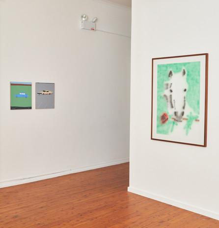 (left to right)   Motonari Uwasu  'Car' acrylic on canvas 46 x 38  'Car' acrylic on canvas 46 x 38  Ricardo Passaporte 'Don Juan' acrylic on paper 118 x 88