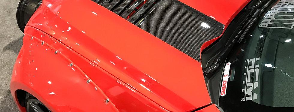 2015 - 2017 Mustang Sigala Fiberglass Heat Extractor Hood w/ CF Vents