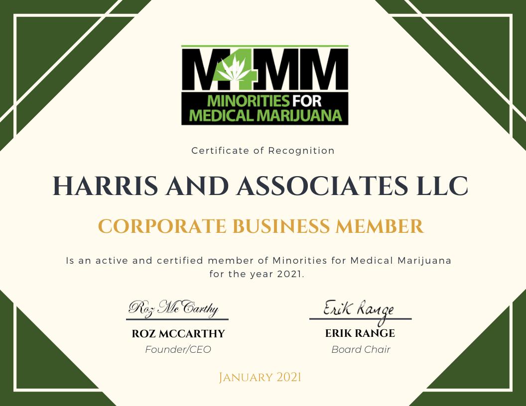 Corporate Member Certificate Harris and