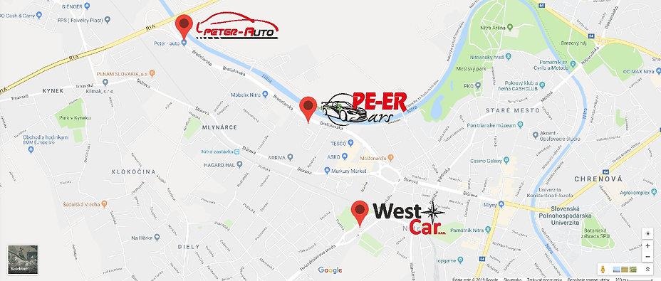 Mapa_sieť_autobazárov_Nitra_PETER-AUTO_-