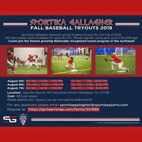 Sportika Gallagher Baseball Fall tryout'