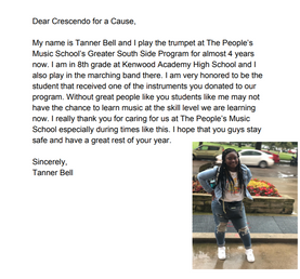 Thank you letter from People's Music School student Tanner