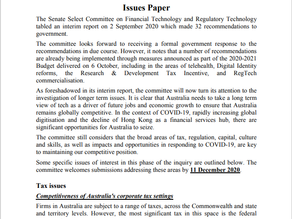 Senate Inquiry into FinTech & RegTech Second Issues Paper released