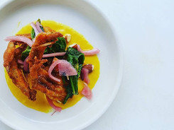 Soft Shell Crab, Braised Mustard Greens, Pickled Red Onion, Toasted Almonds