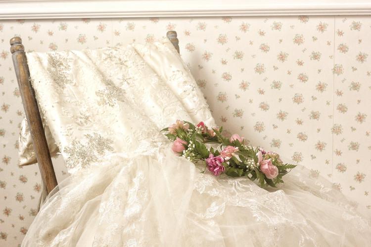 Wedding Dress + blush flower crown